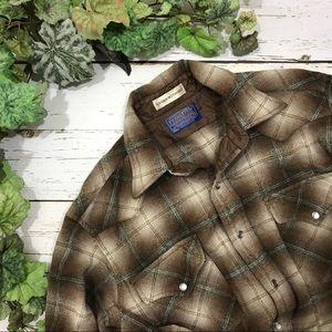 Pendleton Wool Pearl Snap Plaid Western Shirt S